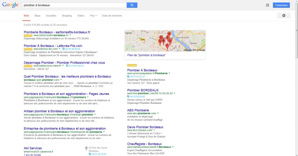Résultats Google : Plombier à Bordeaux