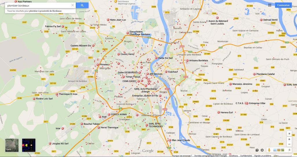 Carte, Map Google pour la recherche locale Plombier Bordeaux
